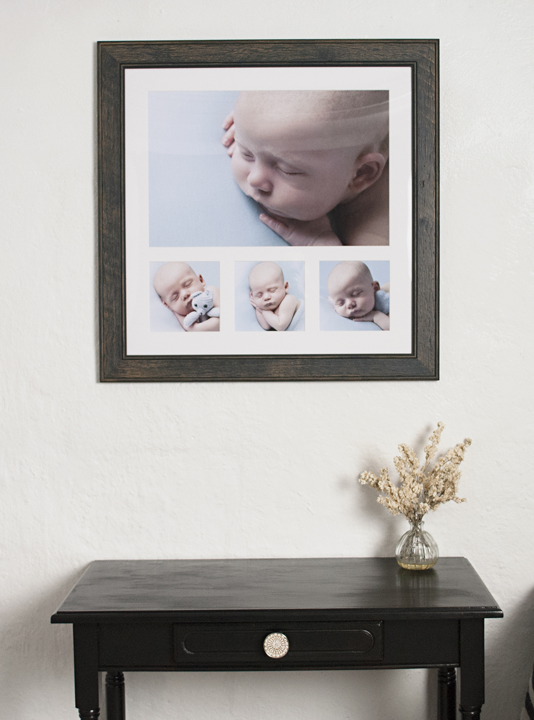 Multi image frame from images in newborn shoot Runfold