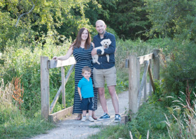 family with dog in photoshoot in farnham