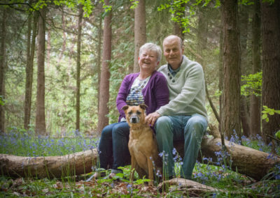 couple and pet dog in bluebells in guildford