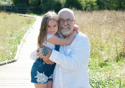 grandad with grand daughter in photo shoot