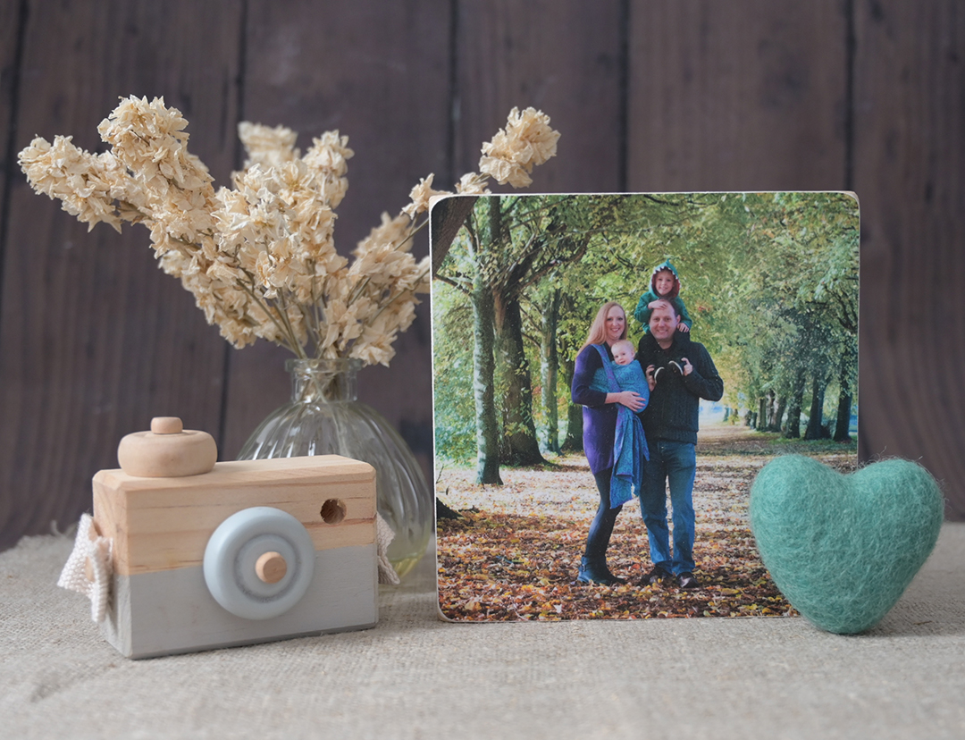 wooden birch block of family session